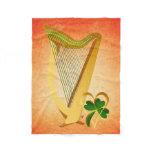 Biig Irish Harp and Heart Of Gold Fleece Blanket