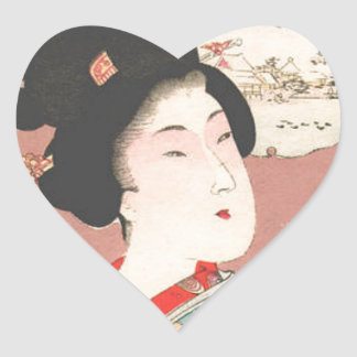 Bijin holding a flower pot by Toyohara Chikanobu Heart Sticker