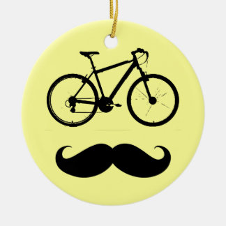 bike and mustache ceramic ornament