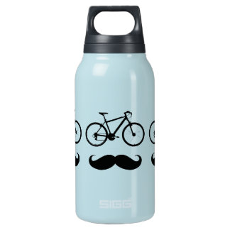 bike and mustache insulated water bottle