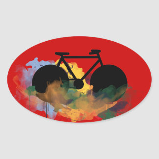 bike , bicycle ; biking / cycling oval sticker