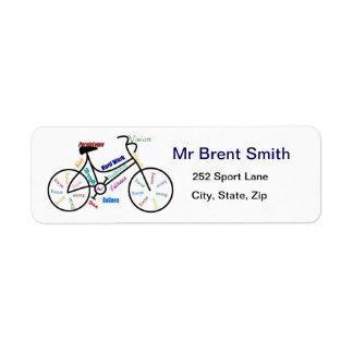 Bike, Bicycle, Cycle, Sport, Biking, Motivational Return Address Label