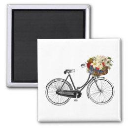 Bike bicycle flower fridge magnets