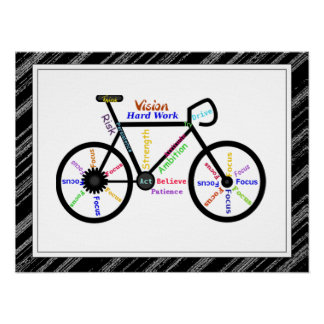 Bike, Bicycle  Sport, Motivational Words & Stripes Poster