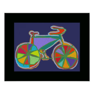bike / bikes colorful wall decor poster