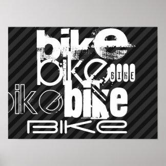 Bike; Black & Dark Gray Stripes Poster
