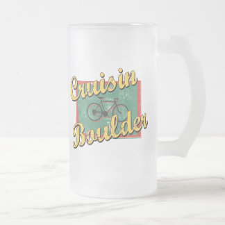 Bike Boulder Bicycle Colorado Frosted Glass Beer Mug