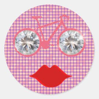 bike checkered face classic round sticker