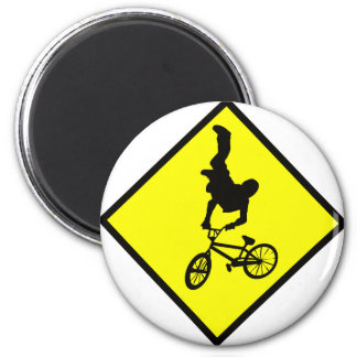 Bike Crossing Sign 2 Inch Round Magnet