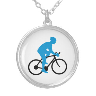 Bike cycling round pendant necklace