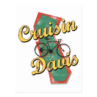 Bike Davis Cruise California Postcard