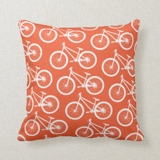 Bike Fire Orange Bicycle Throw Pillow