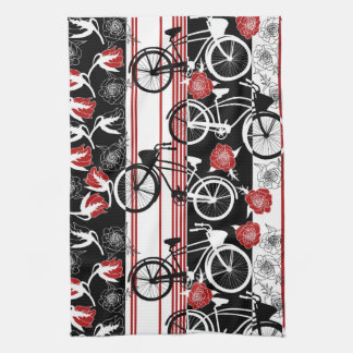 Bike Flower Basket Tea Towel
