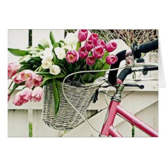 BIKE/FLOWERS-HAPPY ROSADO BIRTHDAY=HAPPY YO TARJETA DE FELICITACIÓN