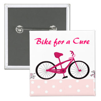 Bike for a Cure - Pink Bicycle Button