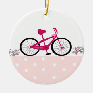 Bike for a Cure - Pink Bicycle Ceramic Ornament