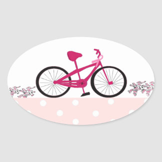 Bike for a Cure - Pink Bicycle Oval Sticker