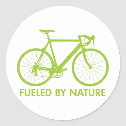 Bike Fueled by Nature Classic Round Sticker
