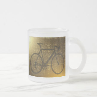 Bike Golden Gold Ride Park Sports Frosted Glass Coffee Mug