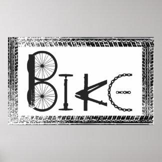 Bike  Graffiti from Bike Parts & Tire Tracks Poster