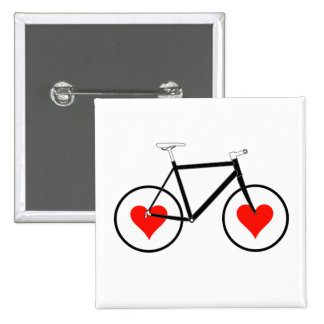 Bike Heart Wheels Pinback Button