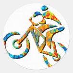 Bike Heel Stoned Classic Round Sticker