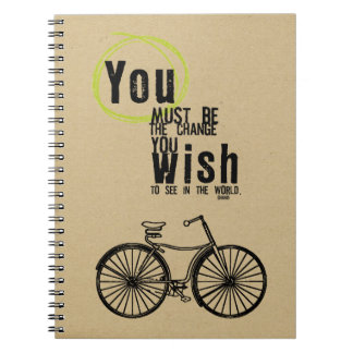 bike ink stamped journal spiral notebooks