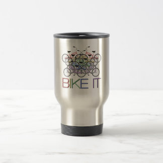 Bike it - Words with tons of colorful bicycles Travel Mug