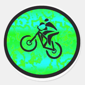 Bike Lime Funky Classic Round Sticker