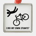 Bike My Own Stunts Square Metal Christmas Ornament