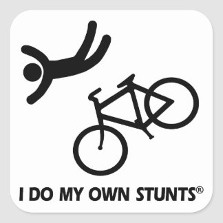Bike My Own Stunts Square Stickers