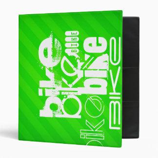 Bike; Neon Green Stripes Vinyl Binder