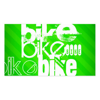 Bike; Neon Green Stripes Business Card