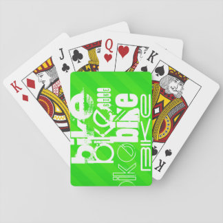 Bike; Neon Green Stripes Playing Cards