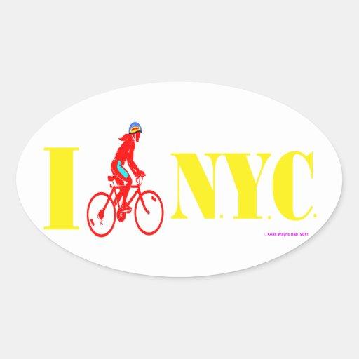 Bike New York City Pegatina Óval