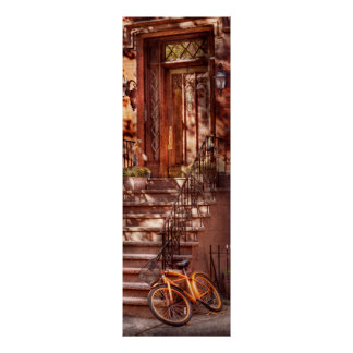 Bike - NY - Greenwich Village - An orange bike Print