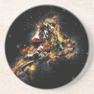 Bike on Fire Sandstone Coaster