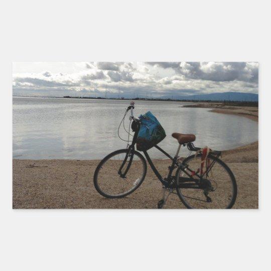 Bike on the Beach Rectangular Sticker