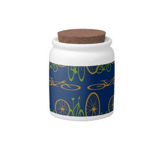 Bike pattern candy jar