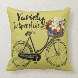 """Bike  pillow """"Variety the spice of life """" Mustard"""