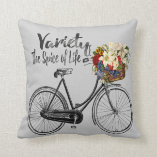 """Bike  pillow """"Variety the spice of life """" Silver"""