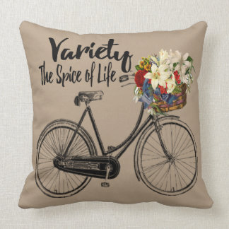 """Bike  pillow """"Variety the spice of life """" taupe"""