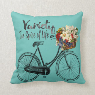 """Bike  pillow """"Variety the spice of life """" teal"""