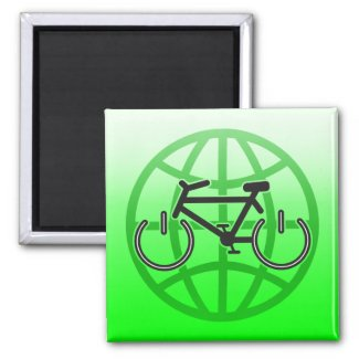 Bike Power for Earth Day 2 Inch Square Magnet