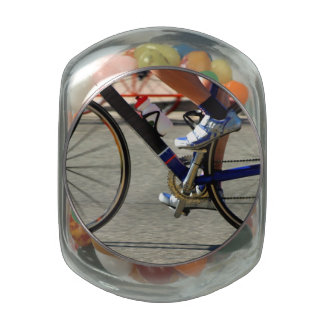 Bike Race Glass Candy Jars