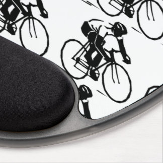 Bike Racers in Motion Black White Bicycle Pattern Gel Mouse Pad