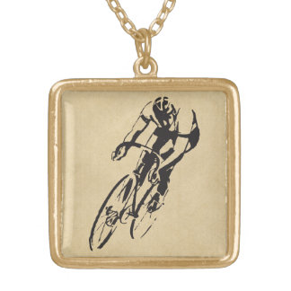 Bike Racing Velodrome Gold Plated Necklace