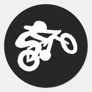 Bike Rider Black n White Classic Round Sticker