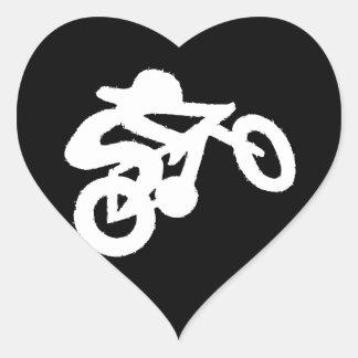Bike Rider Black n White Heart Sticker