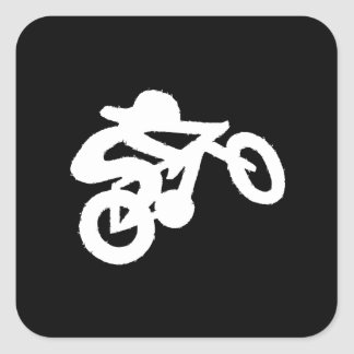 Bike Rider Black n White Square Sticker